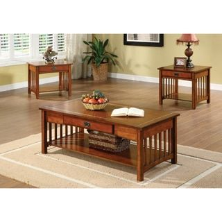 Furniture Of America Nash Mission Style 3 Piece Antique Oak Finish Coffee End Table Set Antique Oak Brown