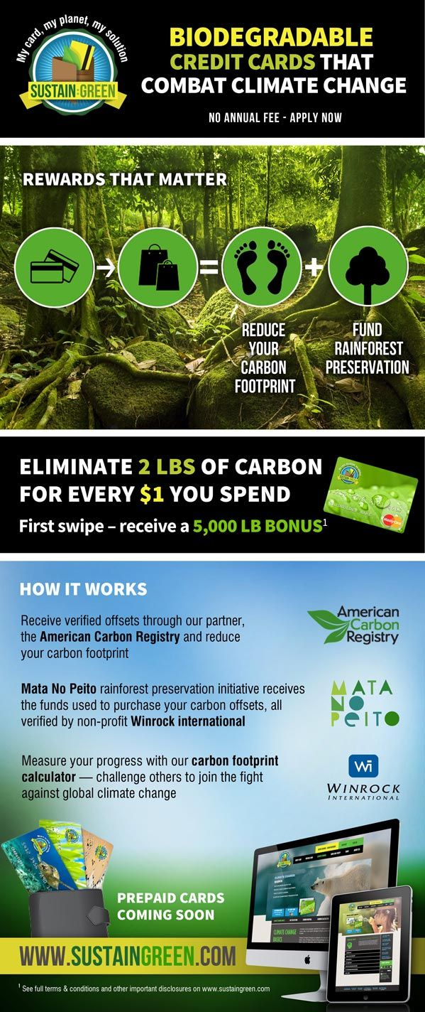 The new biodegradable Sustain:Green MasterCard rewards cardholders with carbon offsets for their purchases.