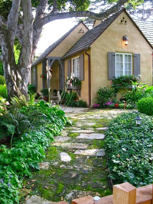 Cottage ~ Love the path.  The garden reminds me of the house we live in now.  And it does have a similar small path.
