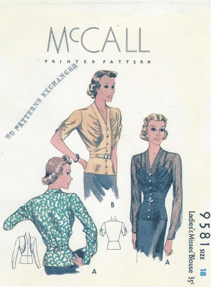 1930s Sewing Pattern - McCall 9581