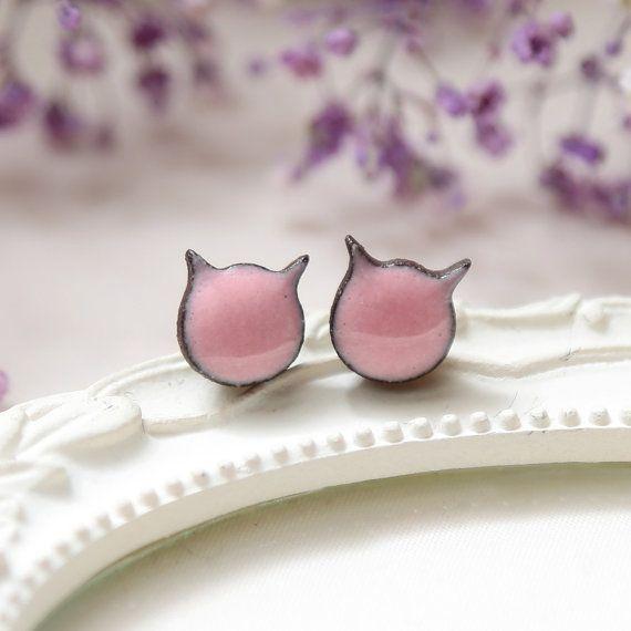 Cat stud earrings Pink cat earrings Ceramic earrings handmade jewelry cat Pink gifts for girls Cute cat sterling silver Clay girls earrings