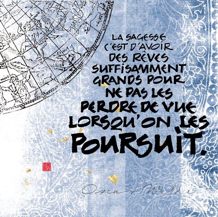 "Carte postale calligraphiée ""Sagesse"" par MarinePSM #calligraphie #citations"