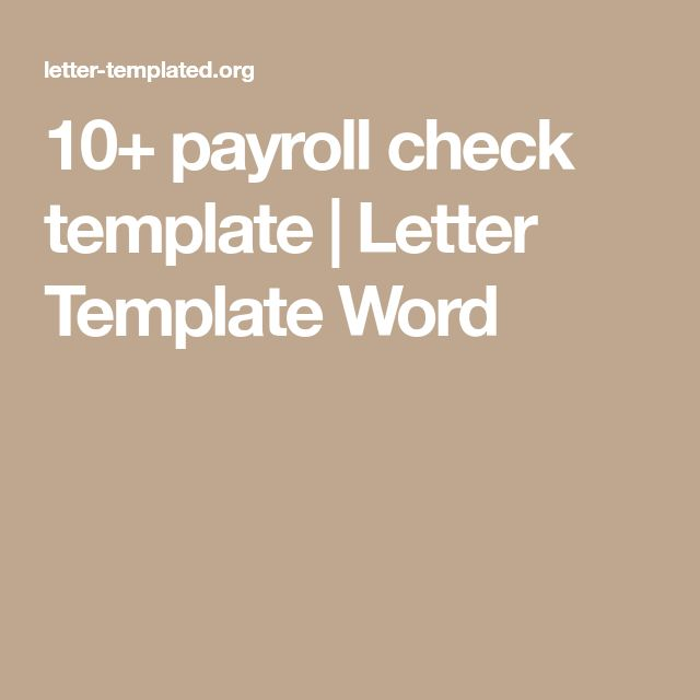 10+ payroll check template | Letter Template Word