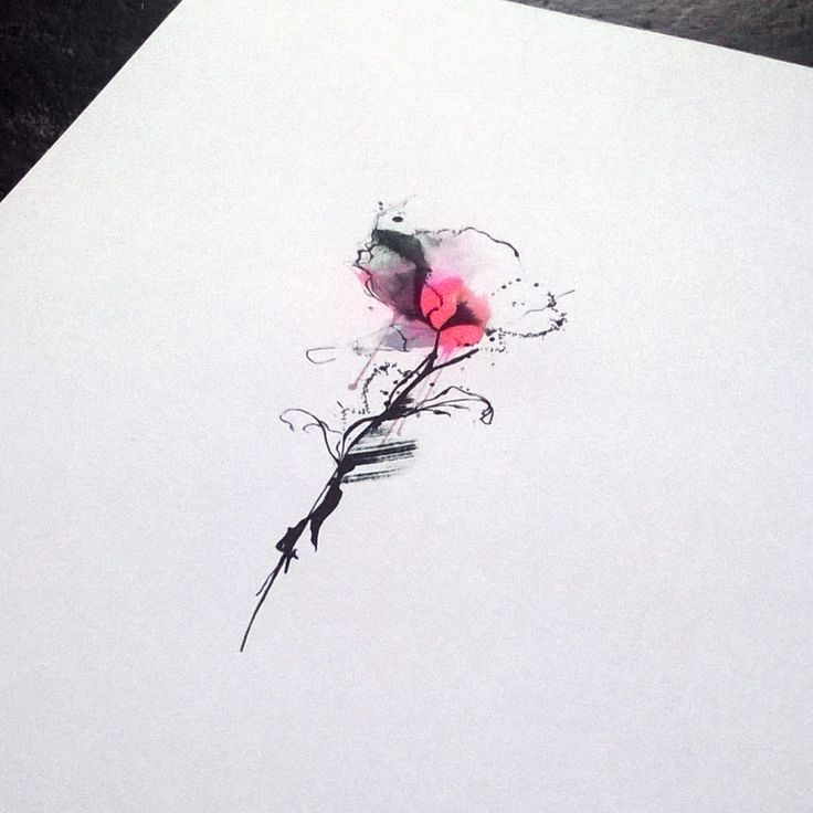 Watercolor and ink poppy tattoo for forearm