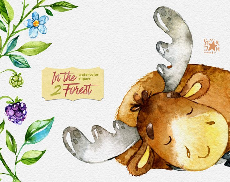 In the Forest 2. Watercolor animals clip art elk by StarJamforKids