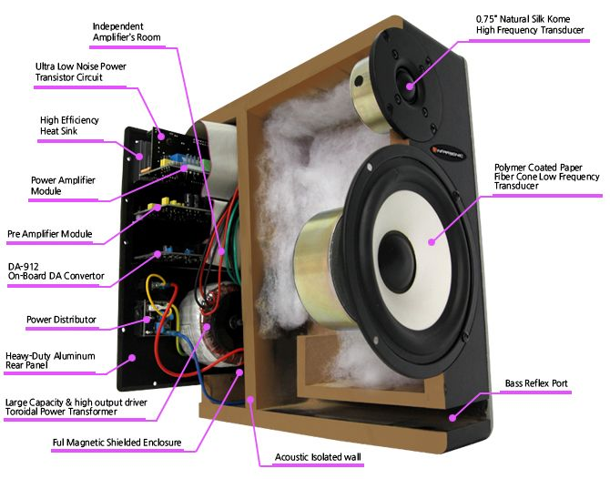 Cross Sectional View Of A Powered Monitor Loudspeaker