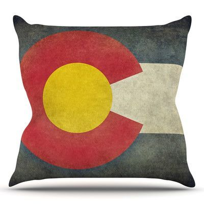 "KESS InHouse State Flag of Colorado by Bruce Stanfield Throw Pillow Size: 20'' H x 20'' W x 1"" D"