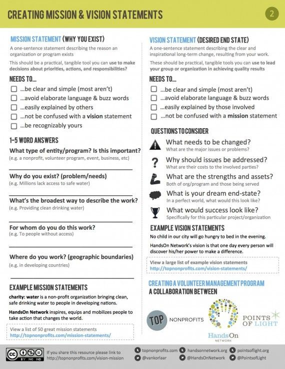 free worksheet to help nonprofits develop a mission and vision statement...and understand the difference