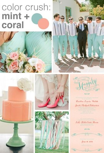 Fresh spring color palette: mint and coral - Advice and Ideas | Invitations By Dawn