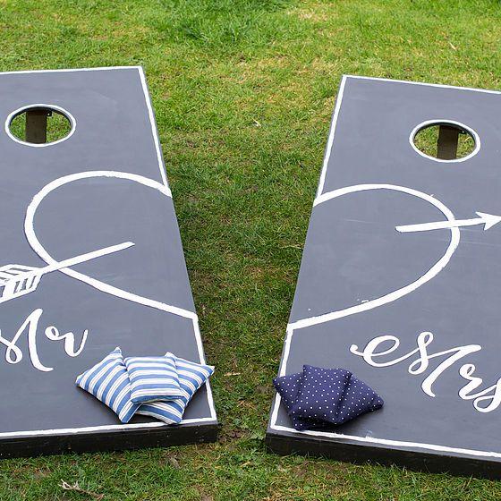 Mr & Mrs Bean Bag Toss Cornhole Corn Hole Wedding Game Hire Essex