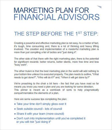 Marketing Plan for Financial advisors