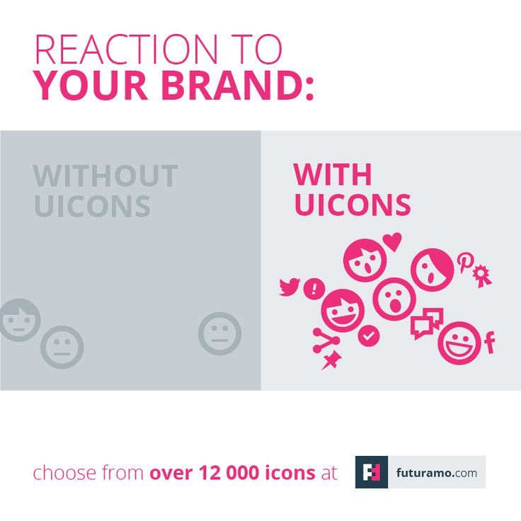 Reaction to your brand with UI icons vs. without UI icons. https://futuramo.com/