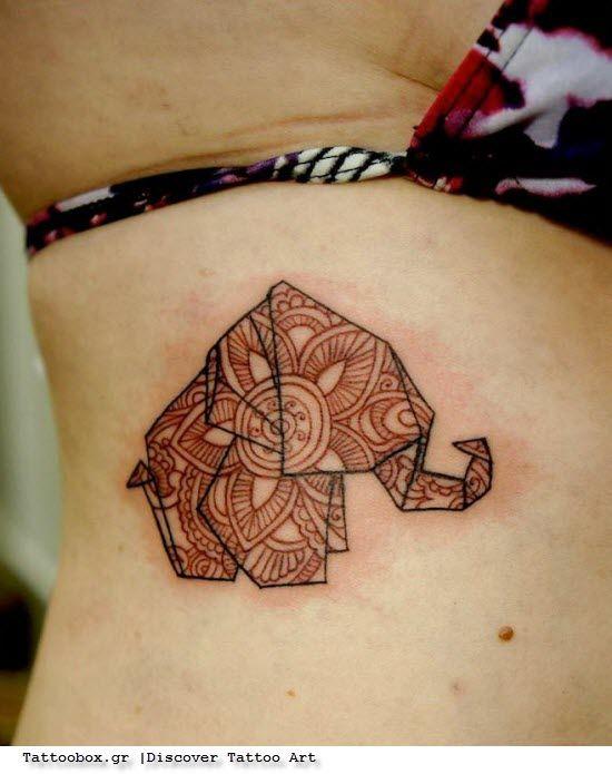 Origami Elephant Tattoo