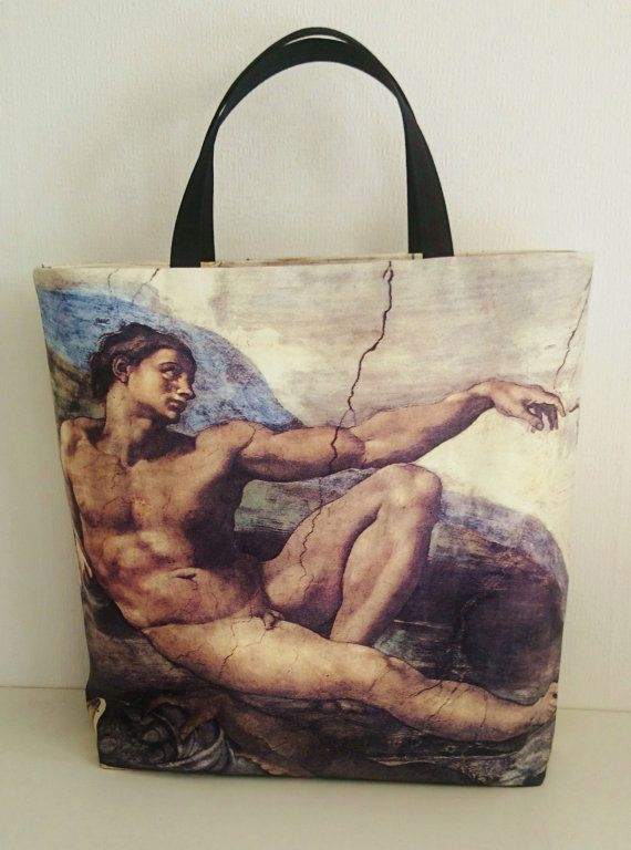 Tote bag Michelangelo painting printed Beach bag by SUNSUELLE