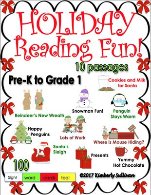 Christmas+Holiday+Reading+Fun!++PRE+K+-+K++++++++++++++10+passages+++100+word+cards+from+Kimberly+Sullivan+on+TeachersNotebook.com+-++(34+pages)++-+Ten+fun+original+reading+passages+for+the+holiday+with+100+sight+word+cards.