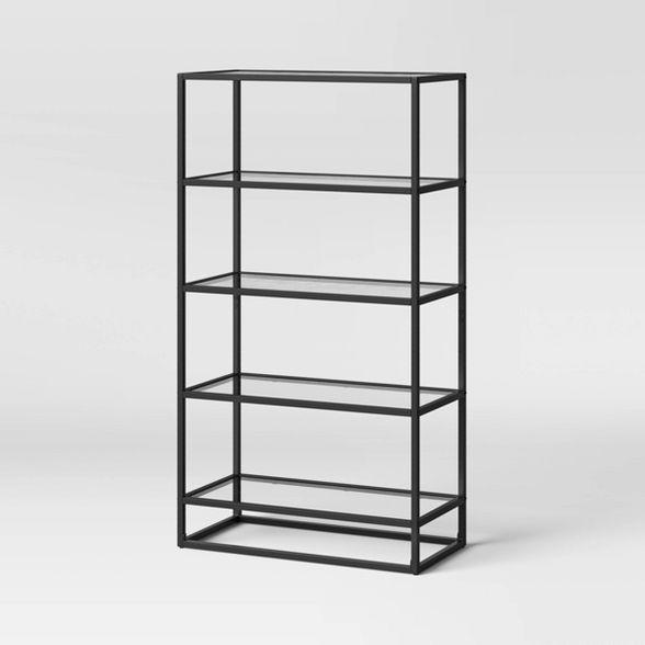 58 25 5 Shelf Ada Bookshelf With Glass Shelves And Metal Frame Project 62 In 2021 Glass Bookshelves Glass Shelves Scandinavian Bookcases Metal and glass bookshelf