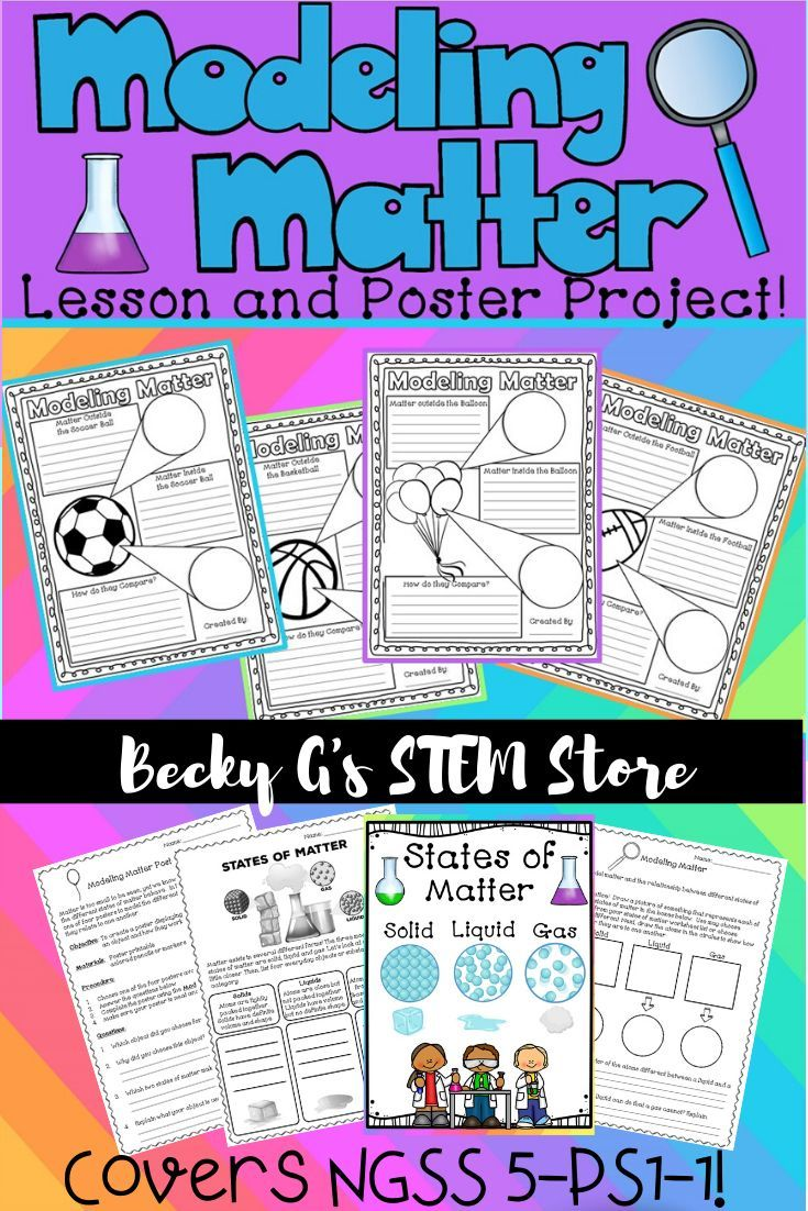 Modeling Matter Poster Project Ngss 5 Ps1 1 Aligned Matter Experiments States Of Matter Worksheet Matter Activities