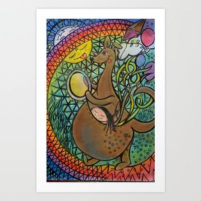 kangaroo Art Print by Valerie Parisius - $15.00 www.valerieparisius.com