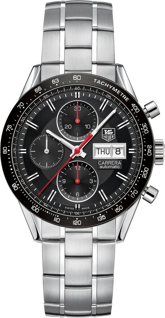 TAG Heuer Watch Carrera Day Date Calibre 16 #bezel-fixed #bracelet-strap-steel…