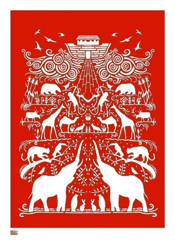 Noah's Ark screen print in poppy red by Bold  Noble