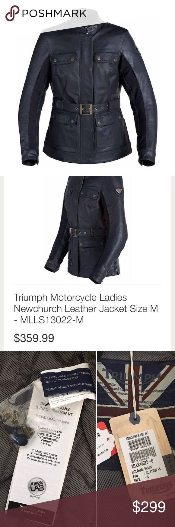 Triumph womens leather motorcycle jacket-NWT BRAND NEW WITH TAGS NEVER WORN - the Triumph newchurch leather women's motorcycle jacket. Retails for $360 as you can see on the tag in the pic. Size small. This AMAZING quality moto jacket features all over armored protection, fully lined and quilted warm interior, multiple pockets, zipper, button, and removable buckle COMES WITH TAGS, INSTRUCTIONS FOR CARE, AND EXTRA HARDWARE. Stay safe riding! ❤️ Triumph Jackets & Coats