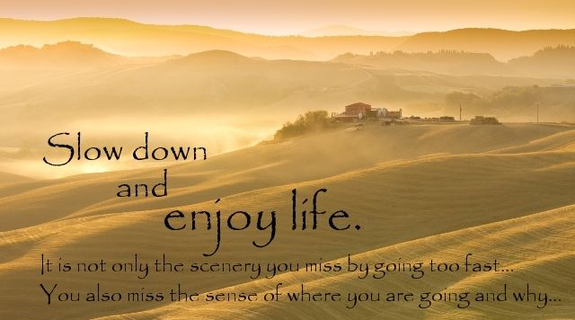 Slow down and enjoy life. It is not only the scenery you