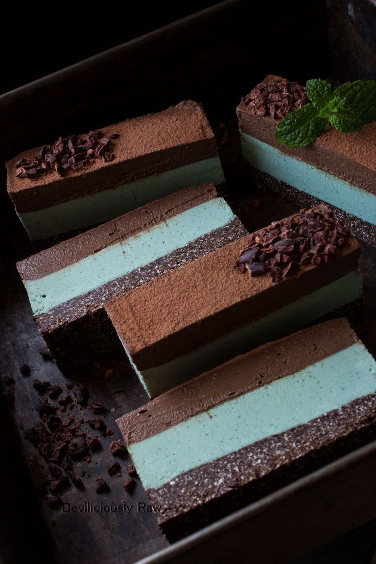 Chocolate Mint Slice from Deviliciously Raw #raw #vegan #nobake #healthy #dessert #recipe