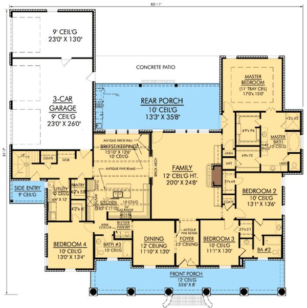 Plan 56337sm graceful 4 bedroom acadian home plan for Floor plans hidden rooms