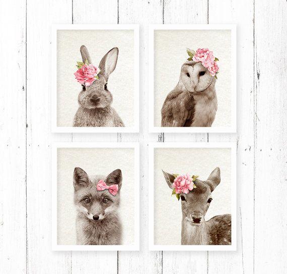Woodlands Print Set, Nursery Animal Wall Art Decor Prints, Girls Room Pink, Rabbit Owl Deer Rabbit, Printable Download, Watercolour
