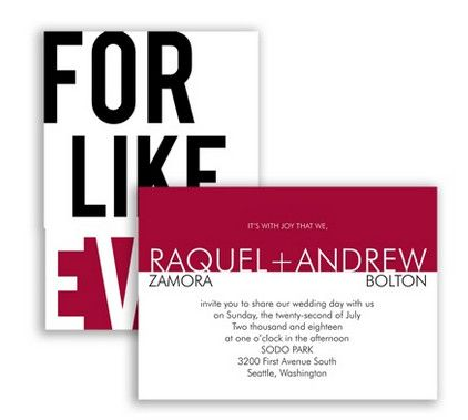 For Like, Ever Wedding Invitation in Apple by David's Bridal #redweddings #weddinginvitation: David S Bridal, Davids Bridal, Cat, Davidsbridal, Wedding Invitations, Forever Weddinginvitations, Bridal Redweddings, Typography Weddinginvitations, Redweddings Weddinginvitation