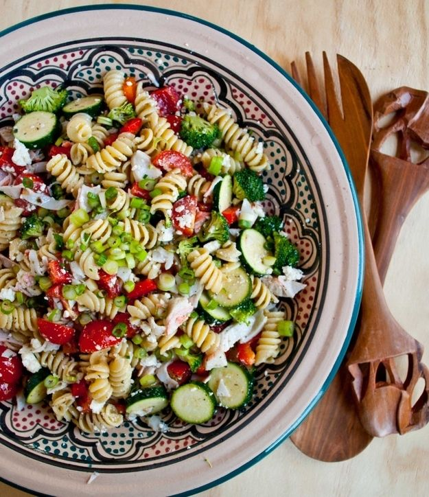 Greek Pasta Salad with Crab and Feta   29 Pasta Salads To Chill Out With This Summer