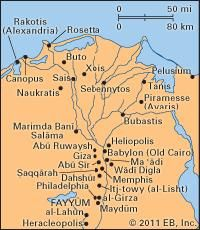 Sites associated with EGYPT from PREDYNASTIC to BYZANTINE times, Nile delta region.