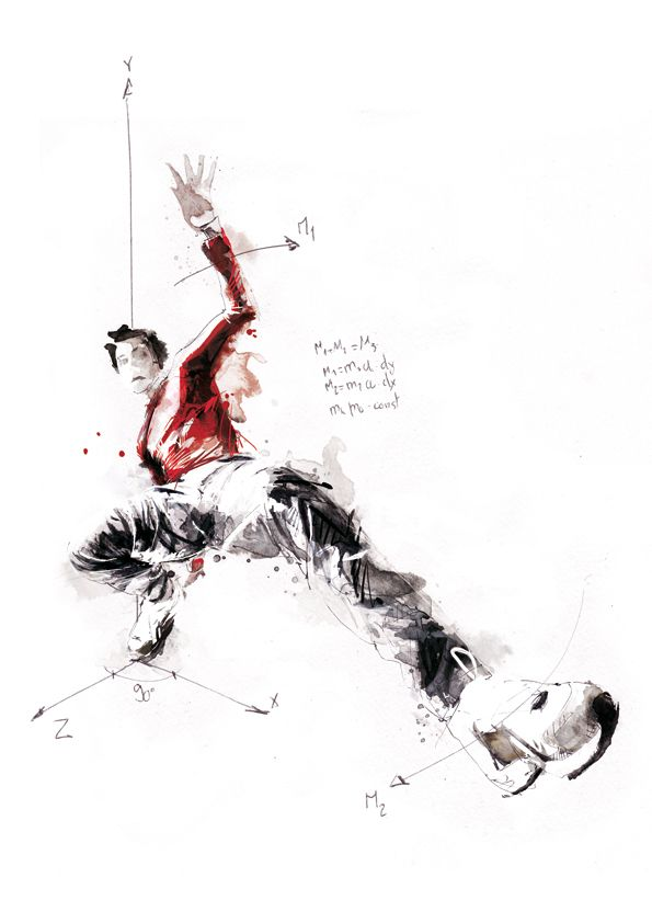 Break Dance - Volnorez // kinetic illustration by Florian Nicolle // red shirt