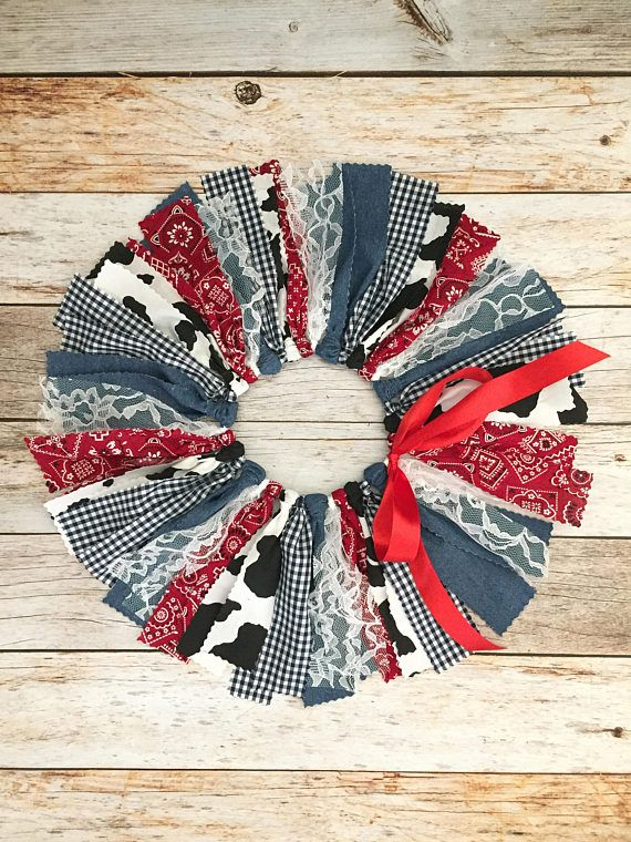 Cowboy/Cowgirl Red, Denim and Cow Print Fabric Tutu, Baby Girl Country Western Tutu