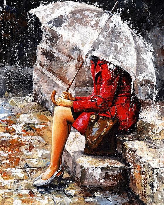 "RED coat ...nearly as good as RED umbrella.  ""Rainy Day - Woman Of New York"" • Emerico Imre Toth {acrylic painting}"