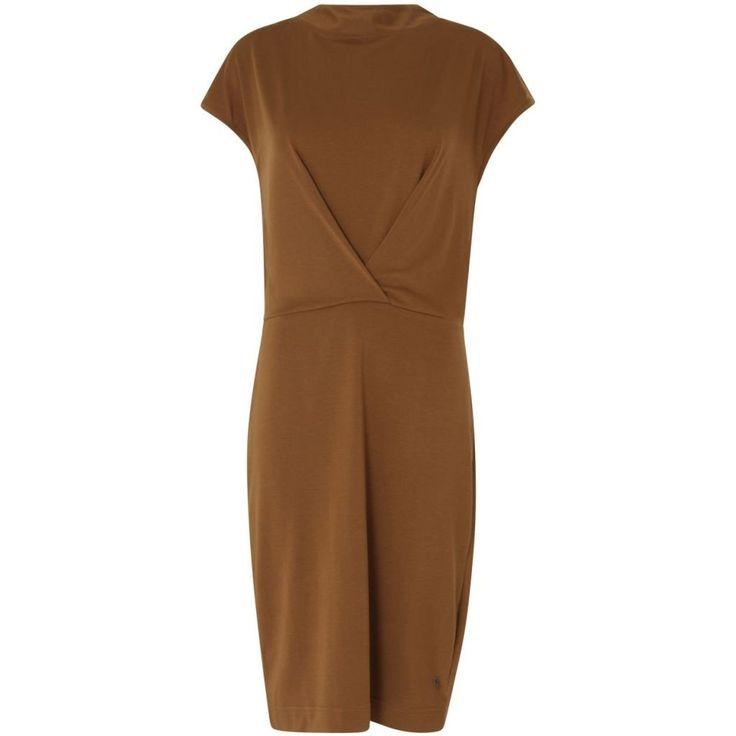Dress w. two front pleats - Cognac