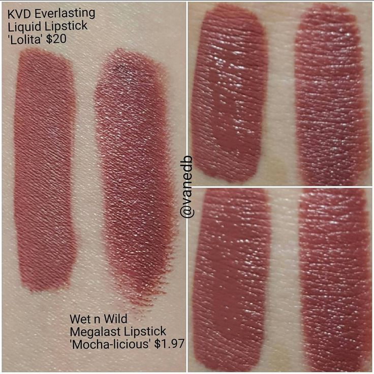 Amazing color dupe for Kat von D Lolita lipstick - Wet n Wild Megalast lipstick in Mocha-licious! The finish is different but the WnW does dry down to a satin matte finish so they will look pretty much the same on the lips!
