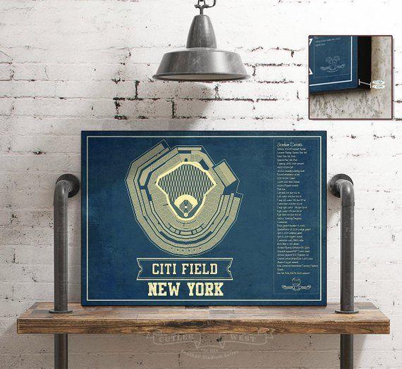 New York Mets Citi Field Vintage Seating Chart Baseball Etsy Stadium Art Blueprint Art Art Prints