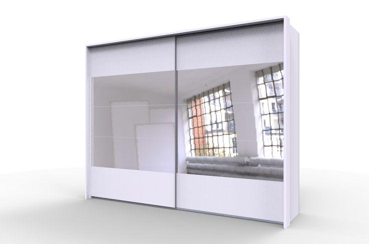 Biała szafa STORE 270 z lustrami i zewnętrznym obramowaniem