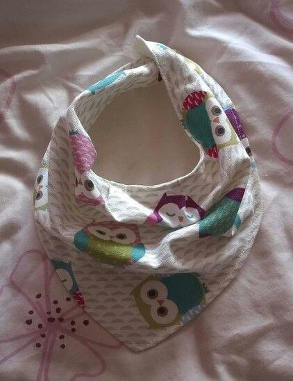 Gorgeous handmade owl bandana bib