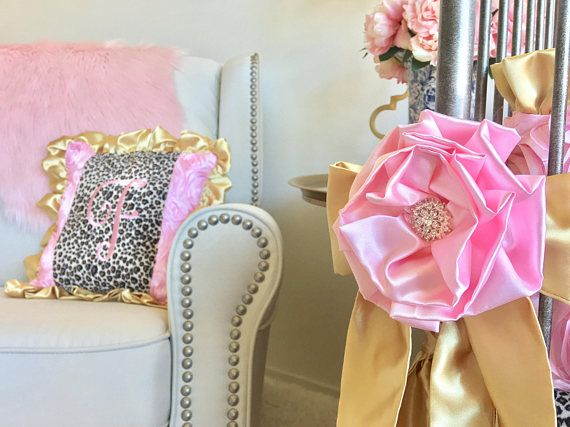 Baby Pink Roses Crib Bumper Pad, Leopard Crib Bumper, Gold Bumper Pad, Girl Bumper, Baby Bumper, Crib Bumper, Boutique Crib Bumper Baby girl bumper made with the adorable baby pink roses, gold and leopard print minky! This crib bumper has sweet bows and pretty pink for a girl