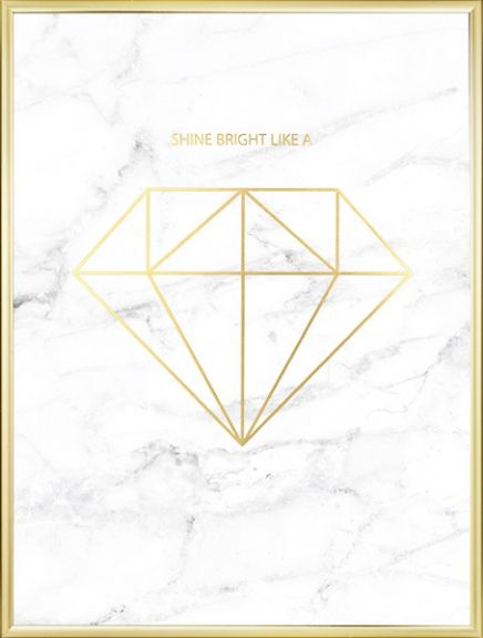 Stylish and luxurious poster with a diamond in gold on white marble. This print fits nicely into the trendy and stylish home. www.desenio.com