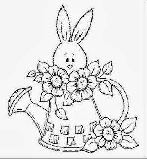desenho de coelho dentro do regador para pintar