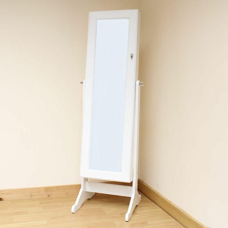 Hartleys White Full Length Floor Standing Mirror Jewellery Cabinet/Organiser/Box