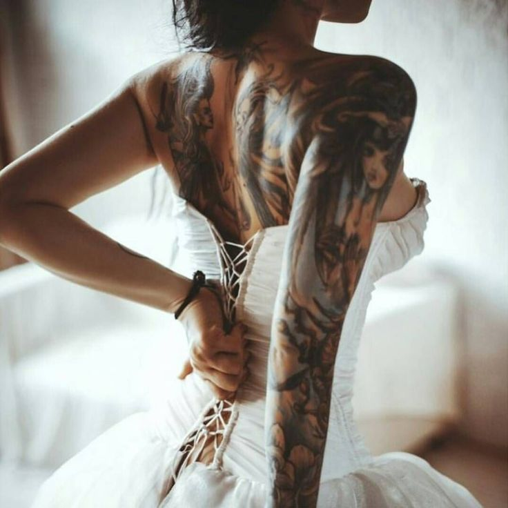 Sleeve and back Tattoo in wedding dress #ink #inked # ...