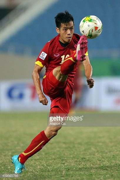 Nguyen Van Quyet of Vietnam controls thre ball during the 2014 AFF Suzuki Cup Group A match between Laos and Vietnam at the My Dinh Stadium on...