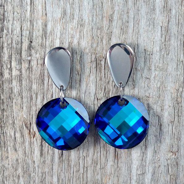Bermuda Blue Swarovski Crystal earrings - Surgical Steel Jewelry by SteelJewelryShop on Etsy
