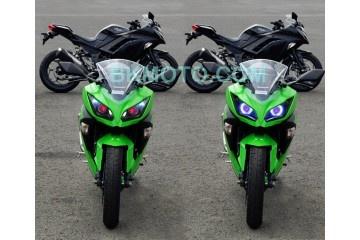 2013 Kawasaki Ninja 300 HID BiXenon Projector kit with angel eyes halo