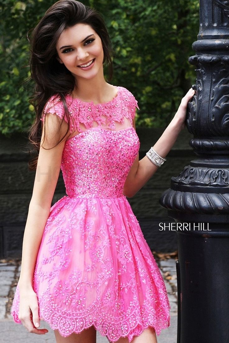 Free Shipping 2014 Wholesales A Line Hot Pink Lace Beads Cap Sleeves Homecoming Dresses for Teens $149.99