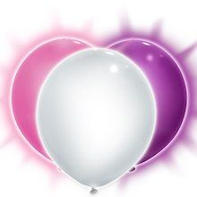 """9"""" White, Purple, and Pink LED Light Up Balloons, 3ct"""